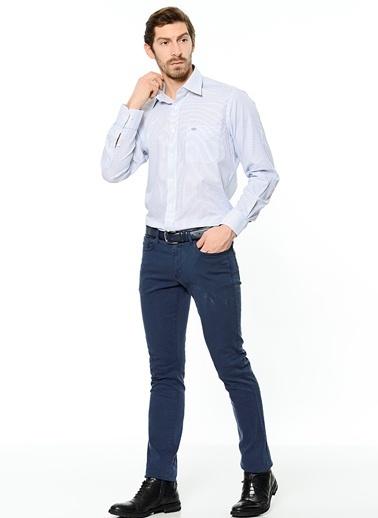 Çizgili Uzun Kollu Klasik Gömlek-Kiğılı